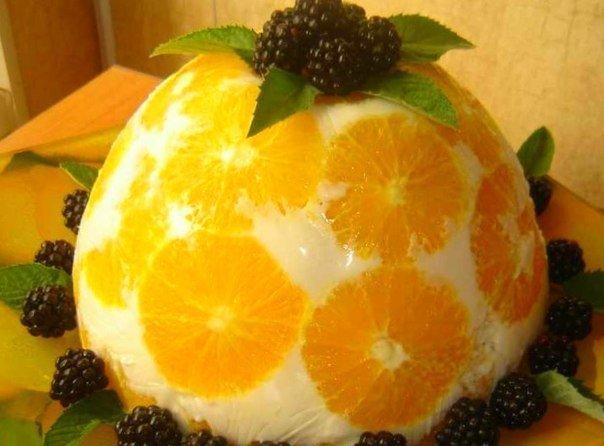 """Как приготовить желейный торт """"Апельсины в йогурте"""""""