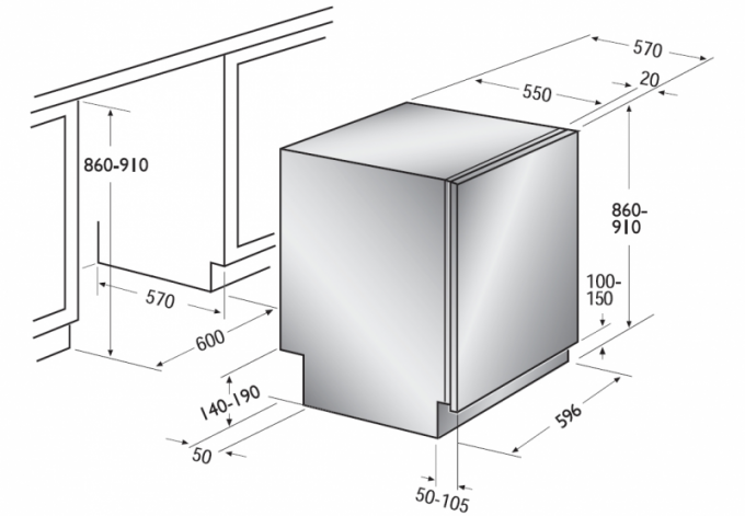 Installation dimensions recessed washing machine