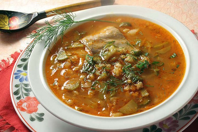 Soup with barley and pickles