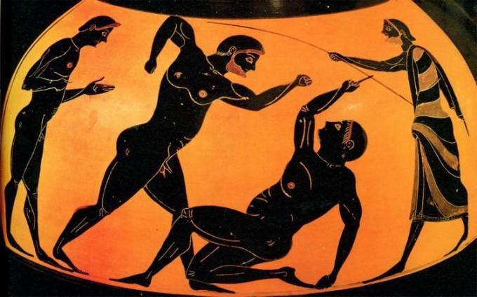 Изображение атлетов на древнегреческой вазе