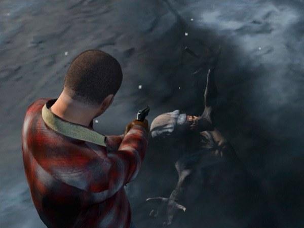 Замерзший в реке инопланетянин-чужой в игре GTA 5