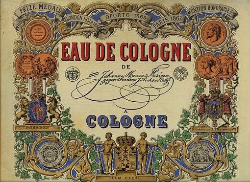 Этикетка Eau de Cologne, 1868 г