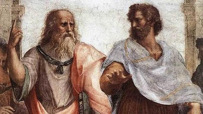 """Платон и Аристотель. Рафаэль Санти """"Афинская школа"""""""