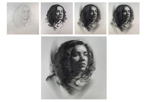 Как нарисовать портрет углем