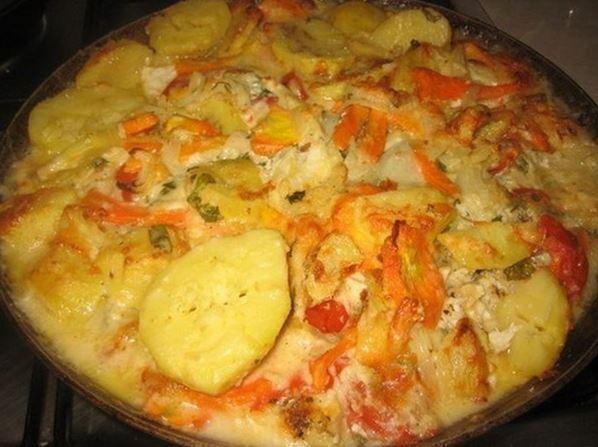 Судак запеченный в духовке с овощами