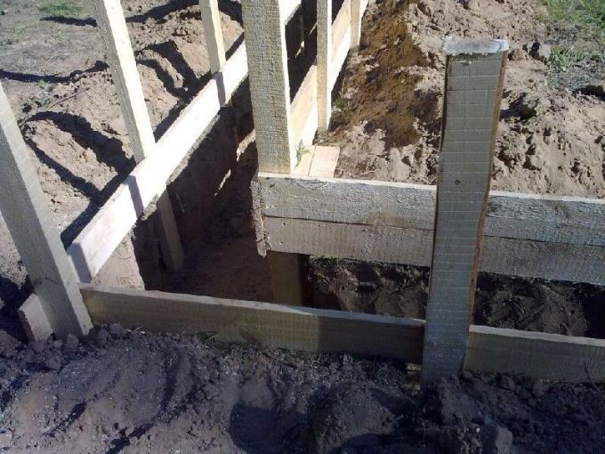 Опалубка и траншея фиксированной ширины перед заливкой бетона
