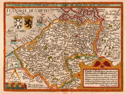 Карта графства Фландрии, картограф Маттиас Квад,гравер и издатель Йоханнес Буссемахер, Кельн,1609 г