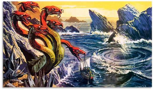 Одна из множества иллюстраций к мифу о Сцилле и Харибде