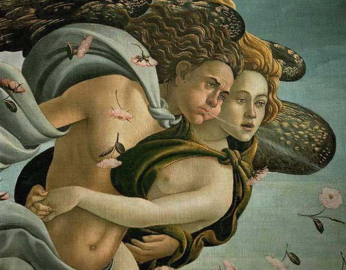 Бог западного ветра Зефир на картине С.Ботичелли