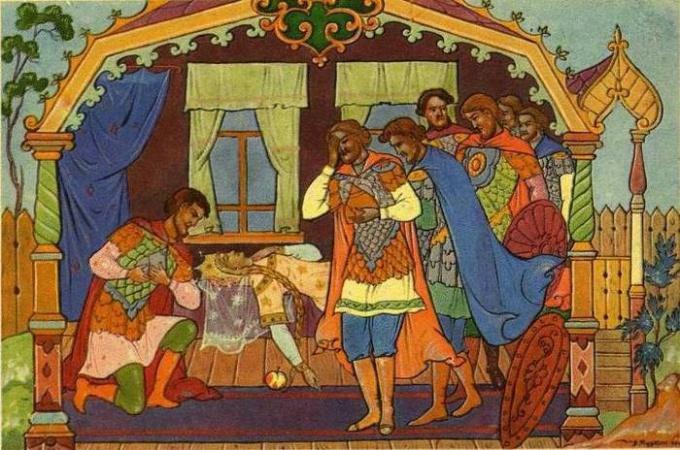 Иллюстрация к сказке А.С.Пушкина «Сказка о мертвой царевне и семи богатырях»