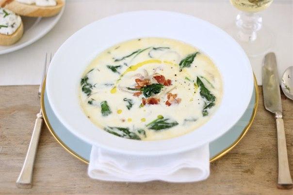Французский суп со шпинатом и спаржей