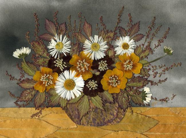 Как сделать картину или панно из сухих цветов и листьев