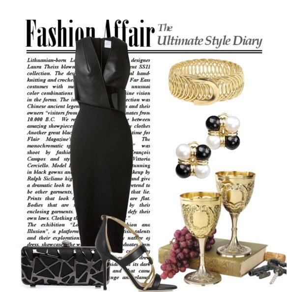 Классическое сочетание черного платья с золотом