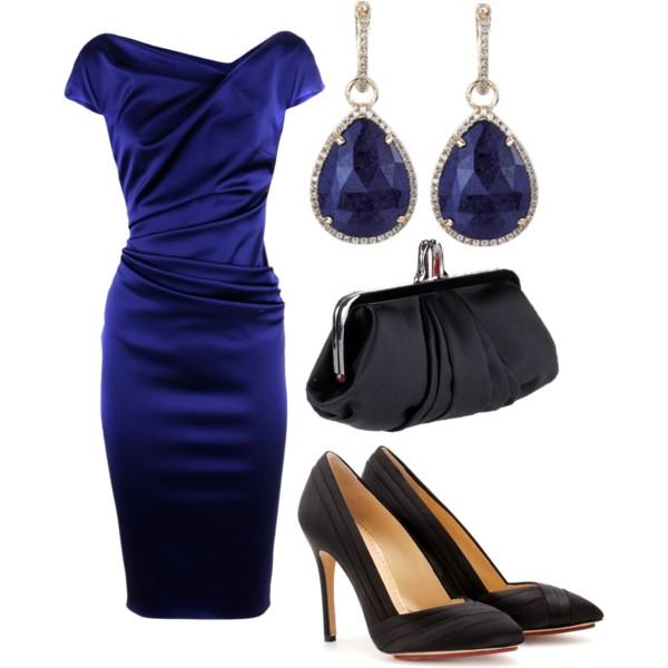 Синее платье: выбираем украшения