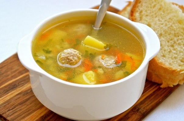Суп с мясным фаршем и грибами