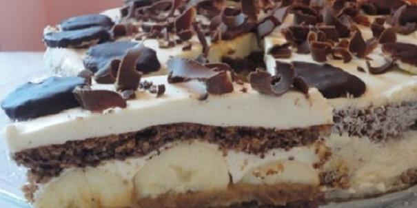 Нежный орехово-банановый торт