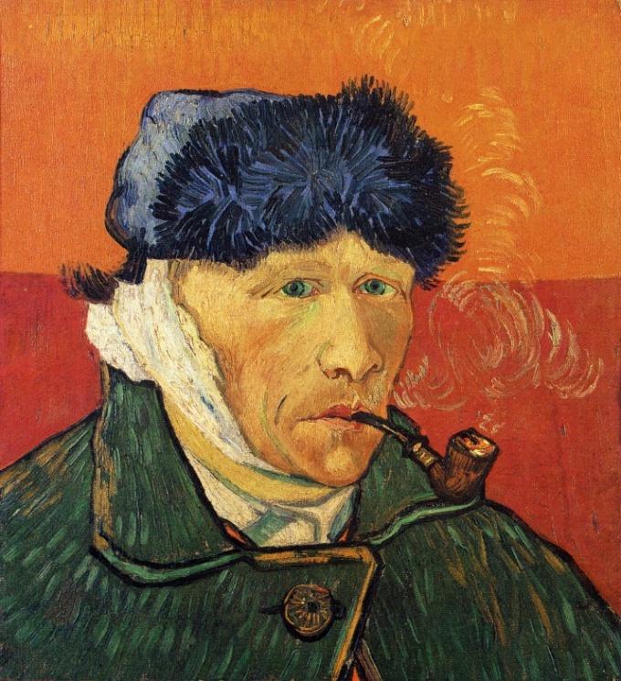 Автопортрет с перевязанным ухом и трубкой, 1889