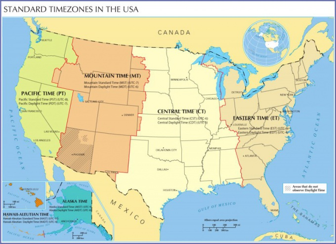 Карта часовых поясов в США