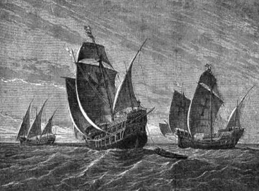 """Картина """"Корабли Колумба"""", художник Густав Адольф Клосс, 1892 г."""