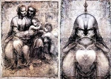 The devil is the work of Leonardo. In order to see it, you need to put a mirror on the shape of the Madonna.