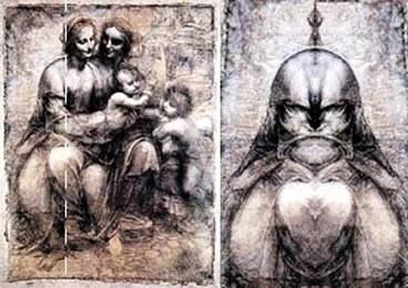 Дьявол работы Леонардо. Чтоб его увидеть, нужно приставить зеркало к фигуре мадонны.