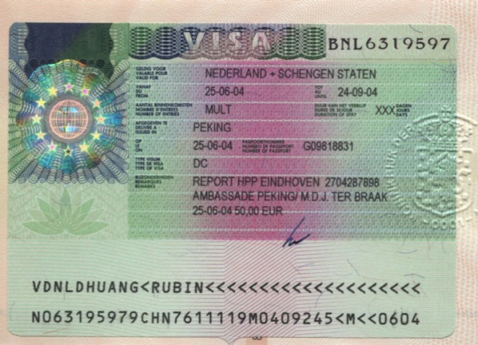 What type of visa is in the passport