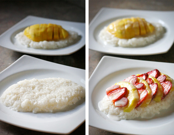 Banana rice pudding with fruit