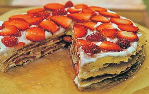 Рецепт блинного торта со сметанным кремом
