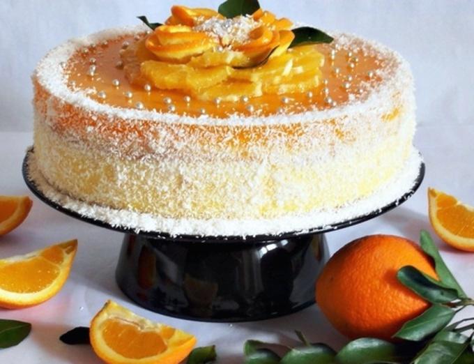 Легкий торт с вареным апельсином