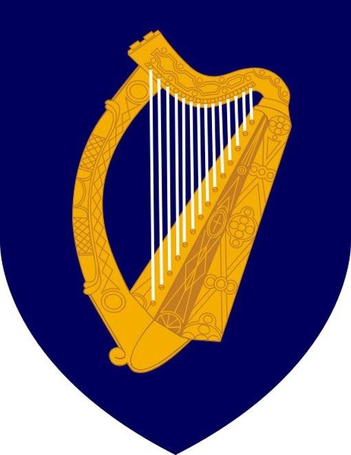 """Герб Ирландской республики """"Золотая арфа на синем поле"""""""