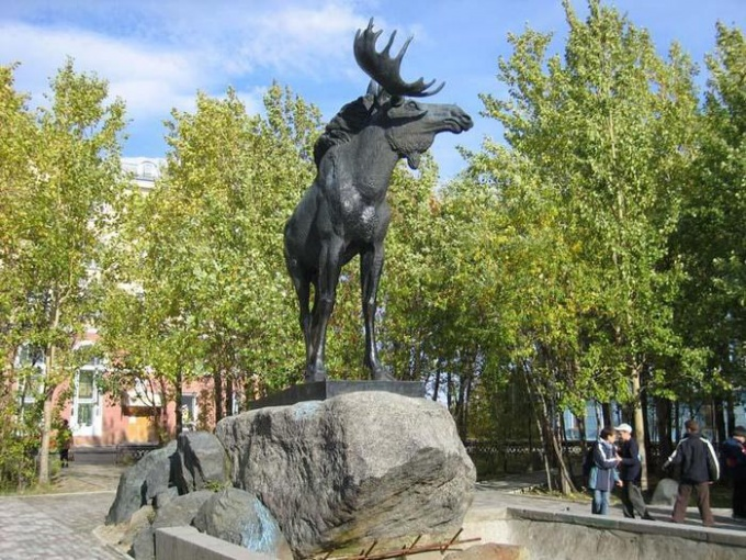Памятник лосю в Мончегорске