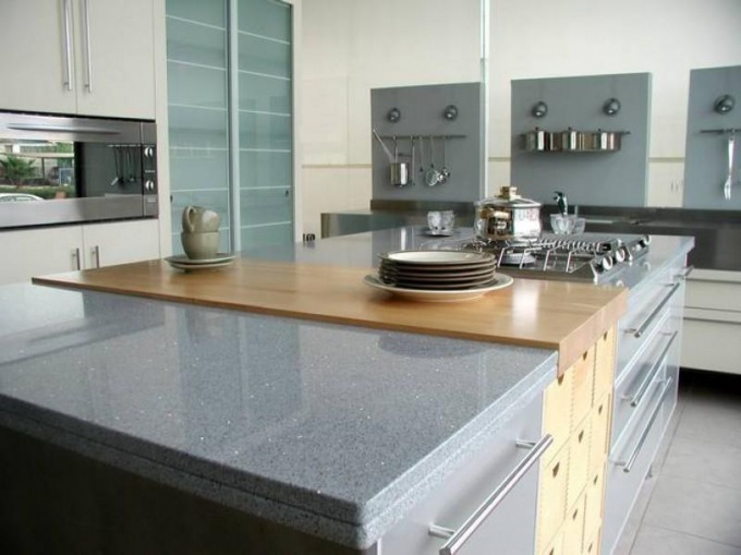 Countertops made of artificial stone will ensure the required cleanliness