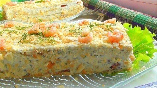 Селедочный торт на вафельных коржах