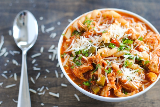 Chicken soup with pasta and Parmesan
