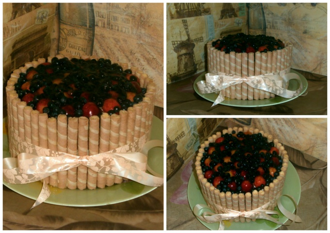 Торт с рикоттой и фруктами