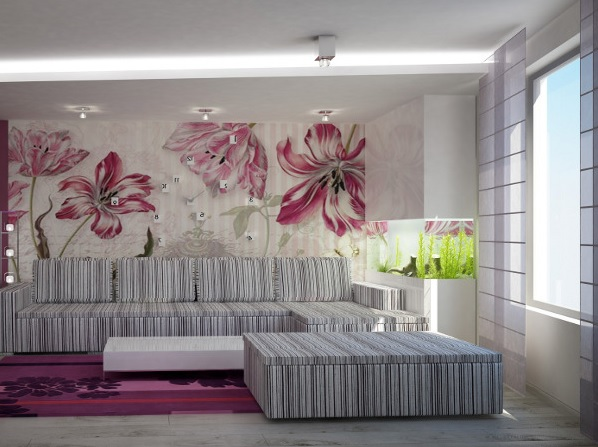 Интерьер с цветочными обоями