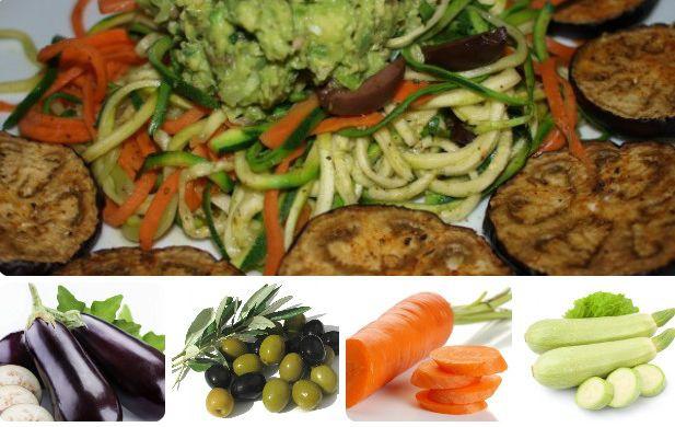 Аппетитная овощная лапша с запеченными баклажанами