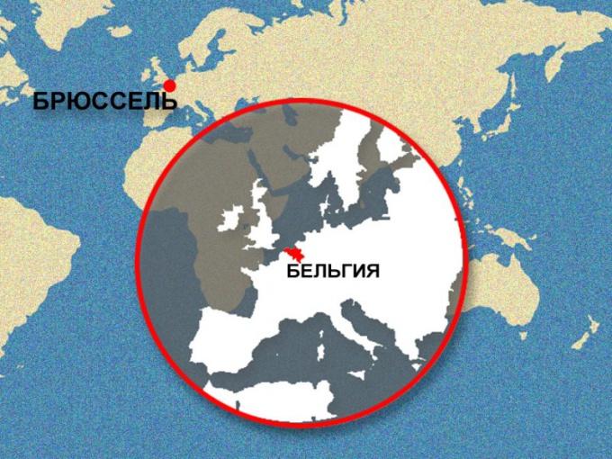Брюссель на карте Мира