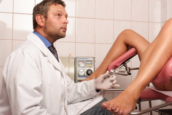 As examined by a gynecologist