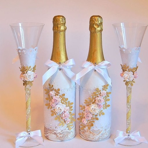 Как сделать бутылки для свадьбы своими руками