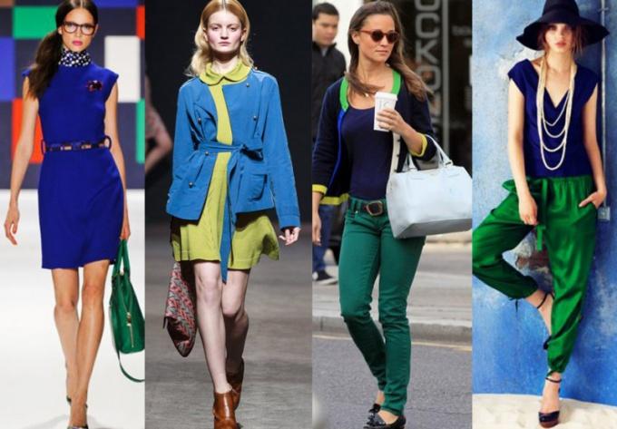 Как сочетается зеленый с синим