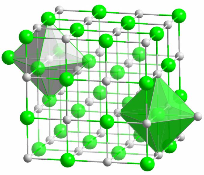 Кристалл поваренной соли - классический пример ионного кристалла