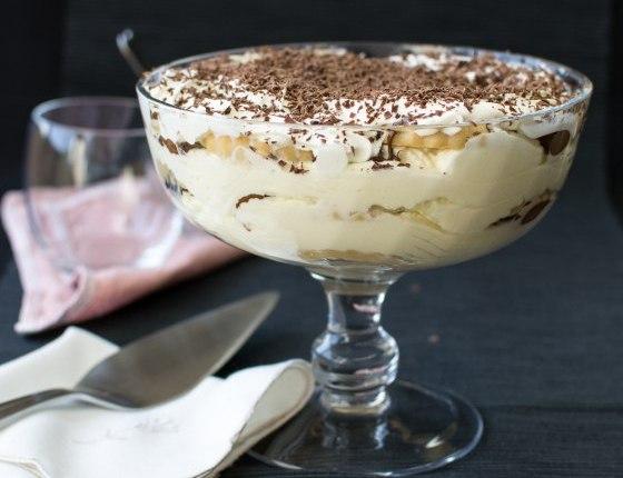 Десерт без выпечки с шоколадной пастой, маскарпоне и ликером