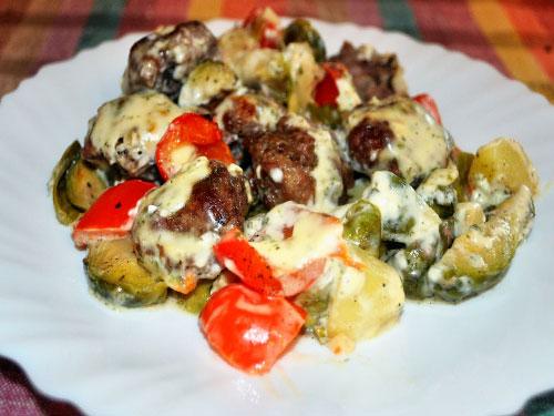 Готовим овощное рагу в сырном соусе