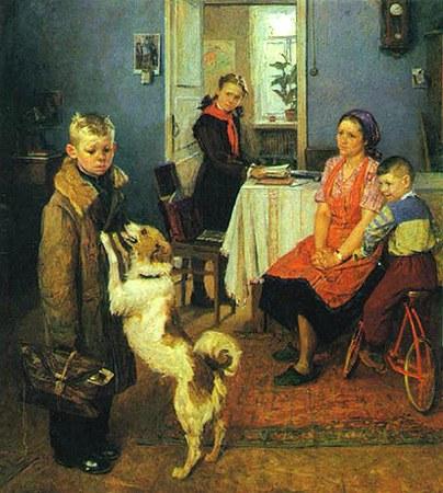 "Картина Ф.П. Решетникова ""Опять двойка"". 1952 г."