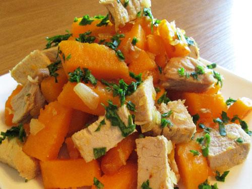 Запеченная тыква с мясом и овощами «Рыжая красотка»