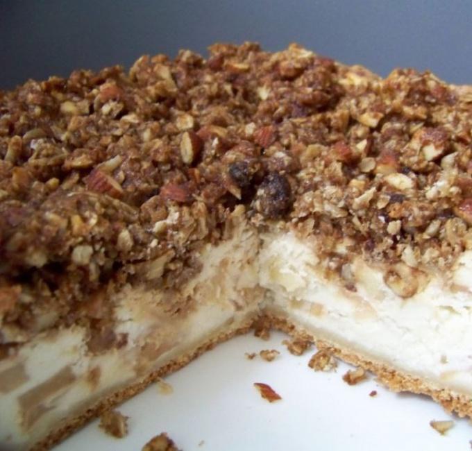 Ванильный яблочно-творожный пирог