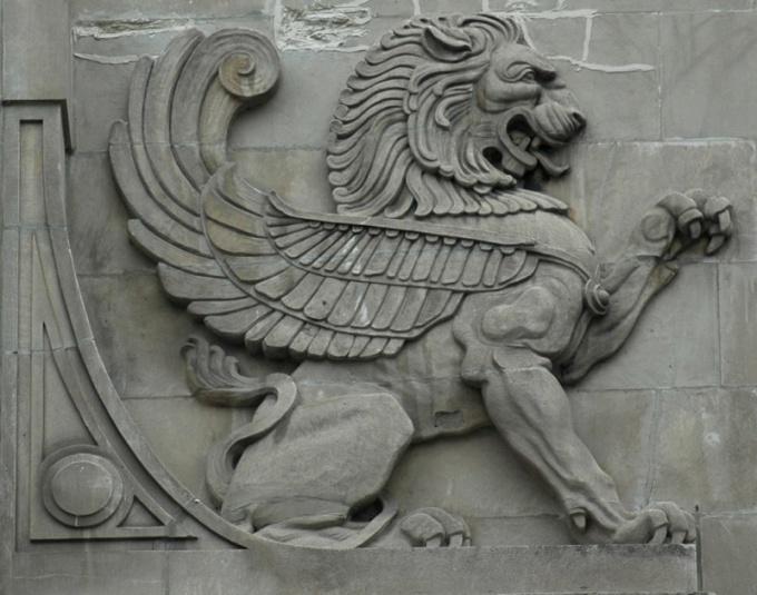 Барельеф льва в Чикаго