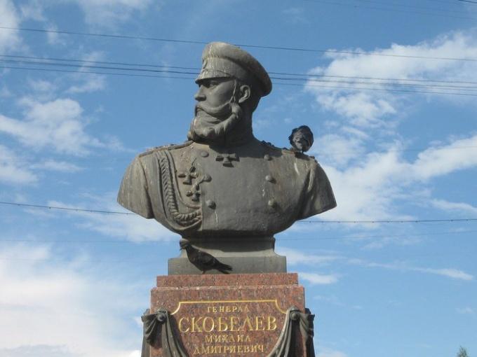 Бюст Михаила Скобелева на родине в Рязани
