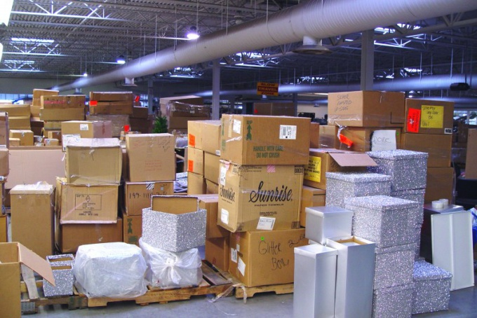 Parcels in the warehouse